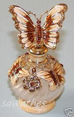 Butterfly Top Beige Enamel Amber Crystal Glass Perfume Bottle.