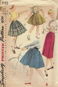 1950s Girls Circle Skirt Flared or Slim Fit Skirts Pleats Waistband Suspenders Simplicity Sewing Pattern Waist 23. $6.50, via Etsy.