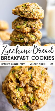 Whip up a batch of these Zucchini Bread Breakfast Cookies to tuck into lunch boxes or for a quick and healthy breakfast on the go. This recipe is made with 100 whole grains, naturally sweetened and gluten free (if using certified gf ingredients). Healthy Breakfast On The Go, Breakfast And Brunch, Healthy Breakfast Recipes, Healthy Baking, Brunch Recipes, Healthy Snacks, Healthy Recipes, Healthy Breakfast Cookies, Healthy Breakfasts