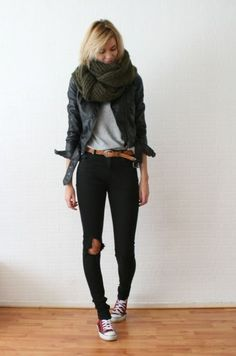 High Waistes Black Skinnies, Brown Belt, Grey Tshirt, Black Jacket