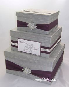 Wedding Gift Box, Bling Card Box, Rhinestone Money Holder - Custom Made