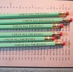 Check All The Boxes Hexagon Pencil Set Mexican Words, Personalized Pencils, Bubble Wrap Envelopes, Bubbles, Box, Snare Drum