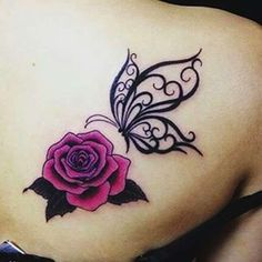 Tattoos Small Butterfly Tattoo Pink Roses On Back Shoulder Tatuagem pequena borboleta rosas rosa no ombro traseiro Semicolon Butterfly Tattoo, Rose And Butterfly Tattoo, Butterfly Tattoo On Shoulder, Butterfly Tattoos For Women, Butterfly Tattoo Designs, Butterfly Design, Tattoo Flowers, Shoulder Henna, Tattoo Roses