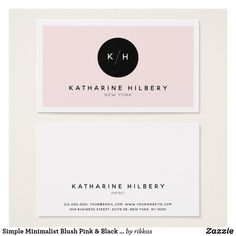 Simple Minimalist Blush Pink & Black Business Card
