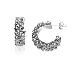 Sterling Silver Half Hoop Rhodium Plated Earrings with a Popcorn Look