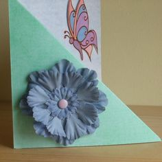 ONE DAY SALE ITEM 12th MARCH  Handmade Blue Flower & Butterfly Card £1.00