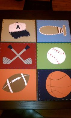Kids Madras MVP JV Junior Varsity Sports Sommerset canvas art to match the Pottery Barn Kids quilts on Etsy, $69.99