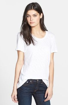 "rag & bone/JEAN 'The Classic' Slubbed Cotton Tee available at #Nordstrom $80.00 Item #992833     A classic scoop-neck tee is supersoft and comfortable in a slubbed cotton knit.      24 1/2"" length (size Medium).     100% cotton.     Machine wash cold.     By rag & bone/JEAN; imported.     t.b.d. New Fashion Trends, Fashion 2015, Autumn Fashion, Boyfriend Tee, Perfect Boyfriend, Minimalist Fashion Summer, White Tees, Cotton Tee, Rag And Bone"