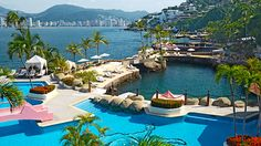 Las Brisas in Acapulco, Mexico. Our suites had a private pool and every day fresh flowers were floating in it...paradise!