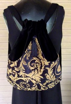 Black and Rich Gold Tapestry Backpack Chenille by piperscrossing, $45.00 etsy