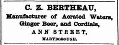 C Z Bertheau manufacturer of Aerated Waters, Ginger Beer and Cordial.