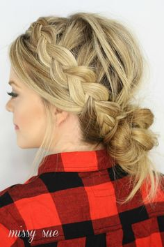 Dutch Braids and Low Messy Bun #messybun #messybunhairstyles #hairstyle #dutchbraids