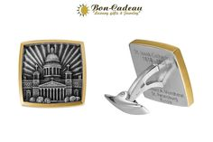 Запонки мужские крупные Исаакиевский Собор. Материал: серебро, позолота. Цена 25000 рублей