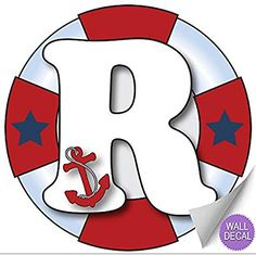 Wall Letters r Nautical Ocean Sailing Custom Letter Children's Nursery Baby's Room Baby Name Boys Bedroom Decor Alphabet Initial Vinyl Stickers Decals Kids Decorations Decal Boat Whale Anchor Girls Nautical Letters, Nautical Baby, Sailor Baby Showers, Baby Boy Shower, Cute Cartoon Boy, Alphabet, Seaside Beach, Diy Birthday Decorations, Kids Stickers