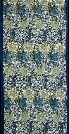 "Wililam Morris design registered October 18, 1883; printed 1917–23 ""While the undulating flower stalks look back to Italian fifteenth- and sixteenth-century velvet designs, they also presage of Art Nouveau."""