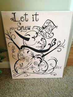 beautiful 'let it snow' snowflake swirly snowman christmas canvas art. Christmas Canvas, Christmas Art, Christmas Decorations, Winter Christmas, Christmas Drawing, Christmas Paintings, Holiday Crafts, Holiday Fun, Arts And Crafts