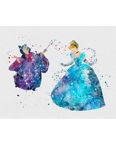 Cinderella & Fairy Godmother Watercolor Art - VIVIDEDITIONS