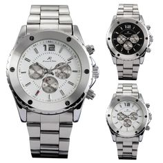 KS Automatic Mechanical 6 Hands Analog Date Stainless Steel Sport Men Watch #KS #Fashion