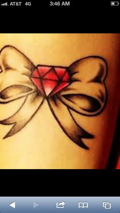 Bow with diamond tattoo