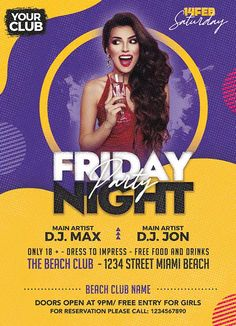 Download the Friday Night Party Free Flyer PSD Template! - Free Club Flyer, Free Flyer Templates, Free Party Flyer - #FreeClubFlyer, #FreeFlyerTemplates, #FreePartyFlyer - #Club, #DJ, #Electro, #Music, #Night, #Nightclub, #Party