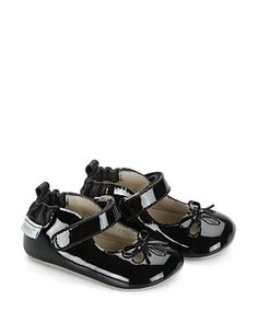 Robeez Infant Baby Girls Patent Black Mary Jane Flats Shoes