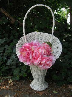 Vintage Wicker Basket,White Wicker Basket,Cottage Basket, Shabby Flower Basket,Wicker Basket,Funeral Basket, Cemetery Basket,