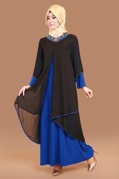 Yakası Taş İşli Abiye Elbise Siyah&Saks Ürün kodu: SMT1004 --> 159.90 TL Islamic Fashion, Muslim Fashion, Abaya Fashion, Fashion Dresses, Jeans Shirt For Girl, Latest Ankara Short Gown, Abaya Pattern, Hijab Style Dress, Modele Hijab