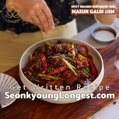 Galbi Jjim Korean Spicy Beef Short Ribs Galbi Jjim Korean Spicy Beef Short Ribs<br> Galbi jjim is Korean Braised Beef Short Ribs and this is spicy version which is the best version! Rib Recipes, Asian Recipes, Cooking Recipes, Healthy Recipes, Healthy Food, Korean Dishes, Korean Food, Japanese Dishes, Chinese Food