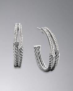 Labyrinth Hoop Earrings, Pave Diamonds by David Yurman at Neiman Marcus.