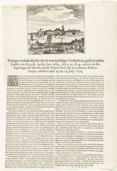 Anonymous | Beleg van Grave, 1674, Anonymous, 1674 | Beleg van Grave door een Staatse leger onder Rabenhaupt, 23-24 juli 1674. Gezicht op de stad met soldaten gelegerd aan de tegenoverliggende oever, met een schipbrug over de Maas.