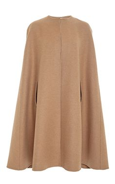 Tan Camel Hair And Wool Cape by OSCAR DE LA RENTA Now Available on Moda Operandi