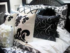 Black and white bedding. Love these throw pillows Parisian Bedroom, Bedding Inspiration, Throw Pillows Bed, Black Bedding, Cozy Room, Kids Decor, Home Decor, Blog Design, Bedroom Decor