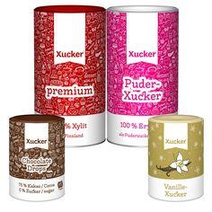 Zuckerfreies Backen mit dem Xucker-Backset - Xucker premium, Puder-Xucker, Xucker Chocolate Drops und Vanille-Xucker sind die besten Grundzutaten für die LowCarb-Bäckerei. GMO-frei. Glutenfrei. Vegan.