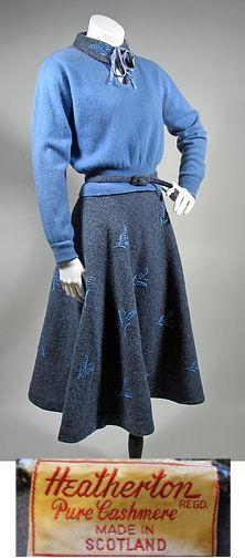 1950s Heather Blue & Grey Cashmere Sweater & Skirt Set SZ S