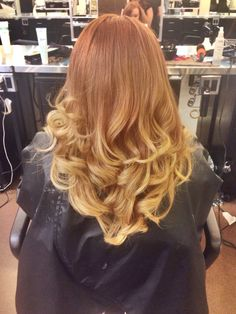 Red to blonde ombre on natural redhead