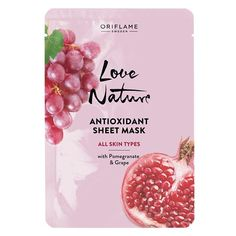 Oriflame Love Nature Antioxidant Sheet Mask All Skin Types UK Granada, Pomegranate Extract, Oriflame Cosmetics, Grape Seed Extract, Benzoic Acid, Alpha Hydroxy Acid, Cleansing Mask, Face Lotion, Uneven Skin Tone
