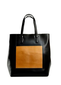 Two-toned leather tote.  I love the simplicity and contrast of colors.