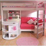 Not so much in pink and white but what an awesome loft bed!