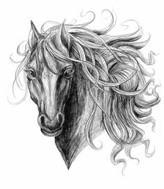 Cool black ink horse tattoo design