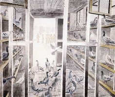 Eric Ravilious: 'Corporal Stediford's Mobile Pigeon Loft'. (During World War Two, thousands of lives were saved by pigeons flying home bearing the co-ordinates of a crash site and every bomber crew carried one). A4 Poster, Poster Prints, Pigeon Loft, Ireland Landscape, Vintage Artwork, Linocut Prints, Art Projects, Original Artwork, War