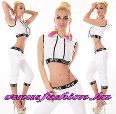 bccaa0c2f4 Fekete fehér kapucnis szabadidő együttes top + kapri nadrág - Venus fashion  női ruha webáruház