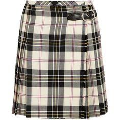 Miu Miu Leather-trimmed pleated tartan wool mini skirt (2,005 CAD) ❤ liked on Polyvore featuring skirts, mini skirts, bottoms, plaid, tartan mini skirt, plaid wool skirts, pleated plaid skirts, tartan miniskirts and plaid miniskirts