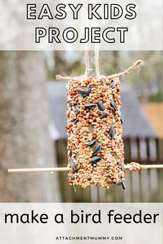 How to Make an Easy Simple Bird Feeder with Kids Bird Feeders For Kids To Make, Make A Bird Feeder, Bird Feeder Craft, Homemade Bird Feeders, Cute Kids Crafts, Craft Activities For Kids, Projects For Kids, Garden Projects, Therapy Activities