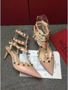 Valentino Multicolor Rockstud Rolling Ankle Strap With 6.5CM Heel  Apricot 2016