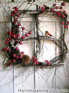 Crimson Berry Window Winter Wreath Birch by TheLinnetsWing