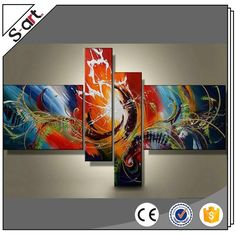 Quality primacy colorful canvas oil painting abstract 4 pieces