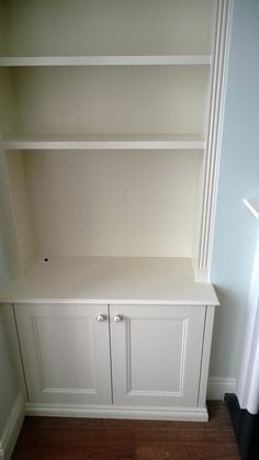 fitted alcove cupboards and shelves. Molding on sides and bottom Alcove Cupboards, Cupboard Shelves, Built In Cupboards, Built In Bookcase, Bookcases, Cupboard Doors, Alcove Storage, Alcove Shelving, Alcove Ideas Living Room