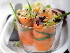 Bouchées de saumon aux graines germées Voir la recette des Bouchées de saumon aux graines germées