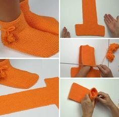 Free Knitting Pattern for Two Needle Socks Crochet Fox, Knitted Slippers, Crochet Slippers, Knitting Patterns Free, Free Knitting, Crochet Patterns, Tricot D'art, Diy Crafts Crochet, Knitting For Beginners