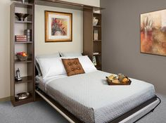 This side tilt Queen bed hardware kit by Murphy Bed is for a hidden horizontal opening wall bed. Kit includes 1 Queen mechanism and 1 frame with regular leg. The maximum mattress size is 60 x 80 x 10 and inches. This kit is hardware only. Murphy Bed Ikea, Murphy Bed Plans, Murphy Bed Hardware, One Room Apartment, Apartment Therapy, Micro Apartment, Studio Apartment, Apartment Ideas, Beds For Small Spaces